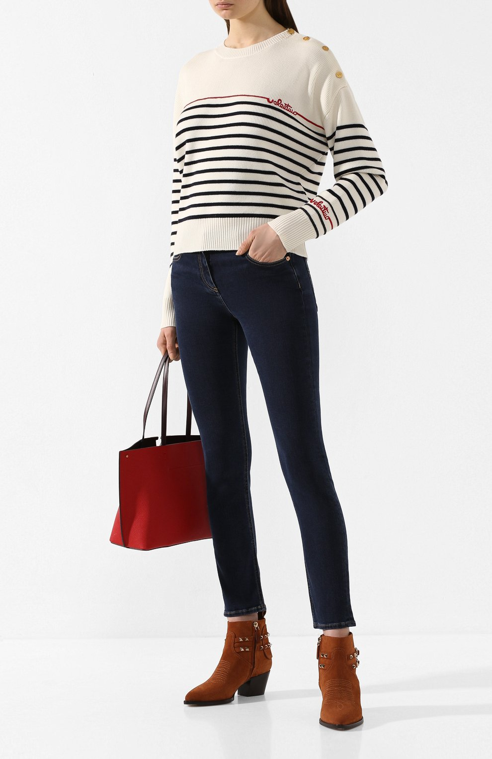 Женские джинсы VALENTINO синего цвета, арт. TB3DD09F55A | Фото 2