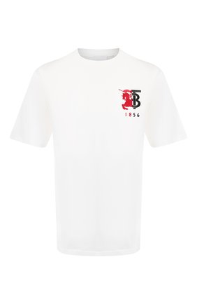 Мужская хлопковая футболка BURBERRY белого цвета, арт. 8022308 | Фото 1
