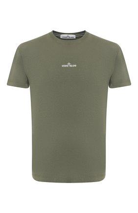 Мужская хлопковая футболка STONE ISLAND хаки цвета, арт. 72152NS84 | Фото 1