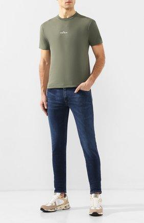 Мужская хлопковая футболка STONE ISLAND хаки цвета, арт. 72152NS84 | Фото 2