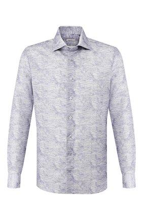 Мужская сорочка из смеси льна и хлопка ZILLI голубого цвета, арт. MFT-MERCU-54027/RZ01 | Фото 1