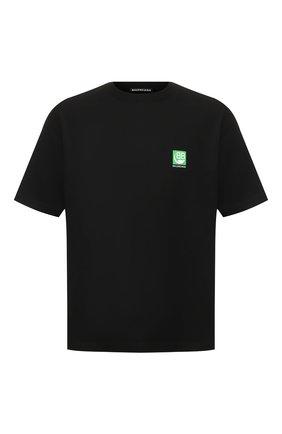 Мужская хлопковая футболка BALENCIAGA черного цвета, арт. 594579/THV63 | Фото 1