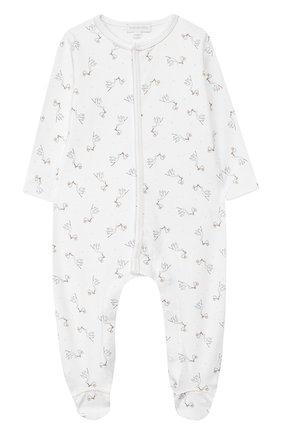 Детский хлопковый комбинезон MAGNOLIA BABY белого цвета, арт. E103-22P-WH | Фото 1 (Рукава: Длинные; Материал внешний: Хлопок)