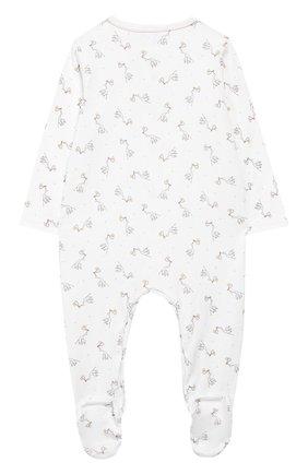 Детский хлопковый комбинезон MAGNOLIA BABY белого цвета, арт. E103-22P-WH | Фото 2 (Рукава: Длинные; Материал внешний: Хлопок)