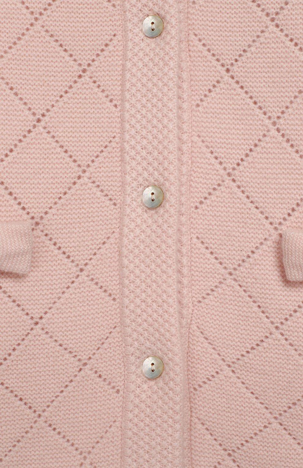 Детский удлиненный кардиган из кашемира OSCAR ET VALENTINE розового цвета, арт. MAN03S | Фото 3 (Материал внешний: Шерсть; Рукава: Длинные)