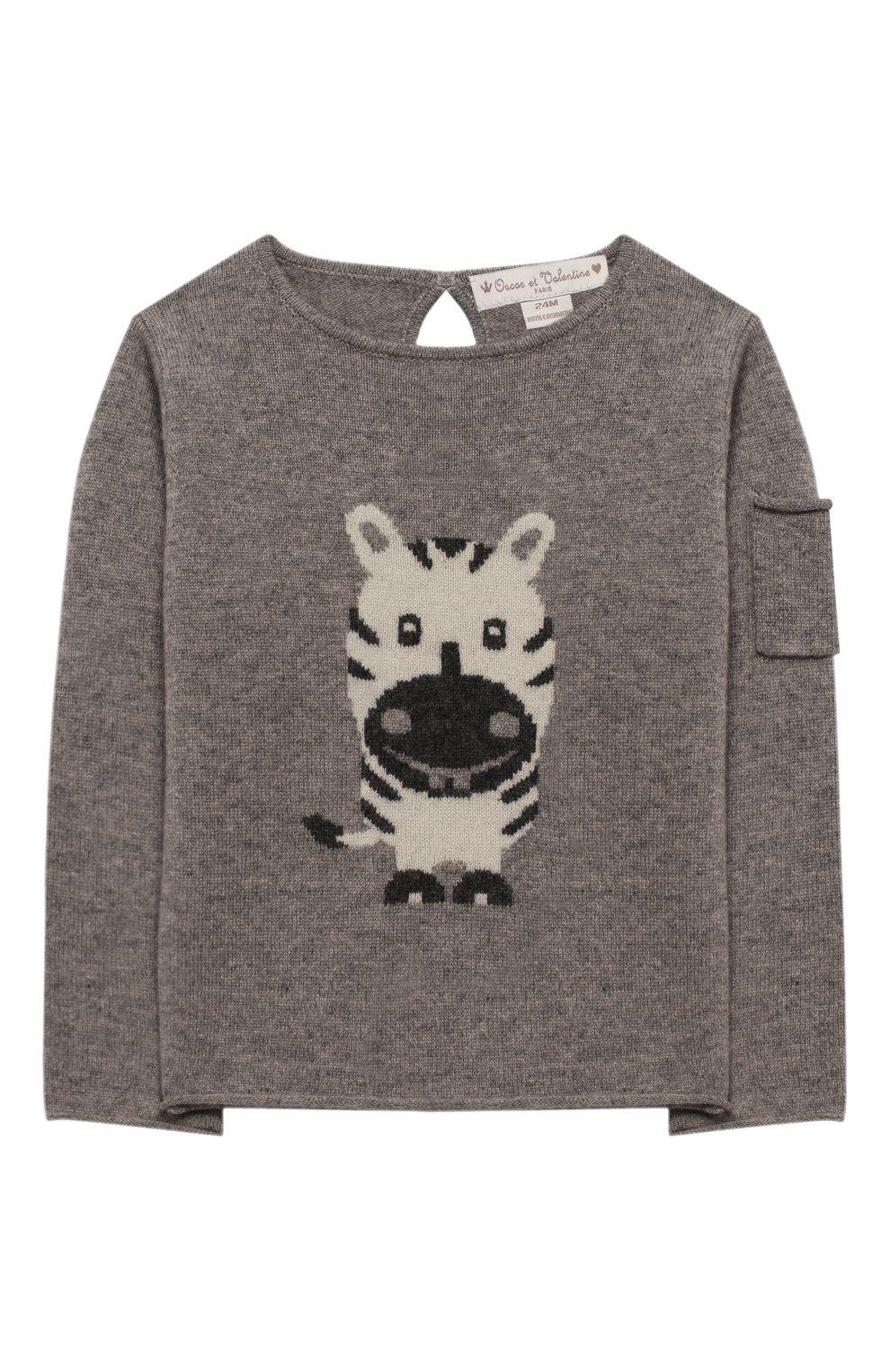 Детский кашемировый пуловер OSCAR ET VALENTINE серого цвета, арт. PUL01ZEBRAS | Фото 1 (Материал внешний: Шерсть; Рукава: Длинные; Ростовка одежда: 12 мес | 80 см, 18 мес | 86 см, 2 года | 92 см)