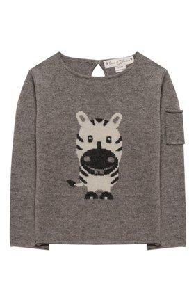Детский кашемировый пуловер OSCAR ET VALENTINE серого цвета, арт. PUL01ZEBRAS | Фото 1