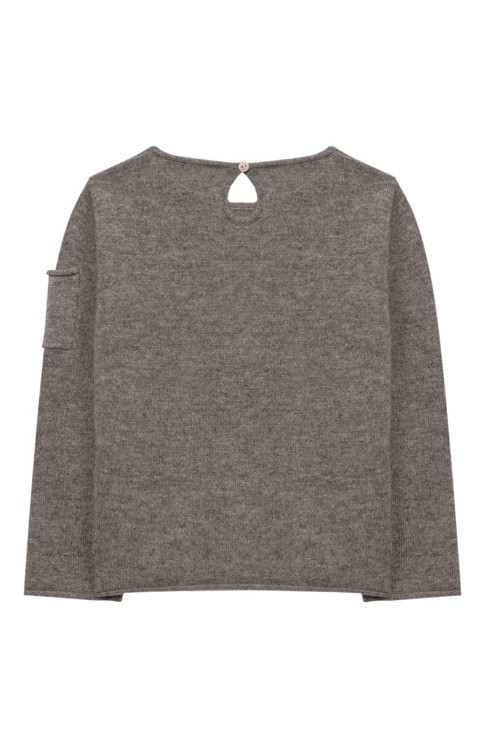 Детский кашемировый пуловер OSCAR ET VALENTINE серого цвета, арт. PUL01ZEBRAS | Фото 2 (Материал внешний: Шерсть; Рукава: Длинные; Ростовка одежда: 12 мес | 80 см, 18 мес | 86 см, 2 года | 92 см)