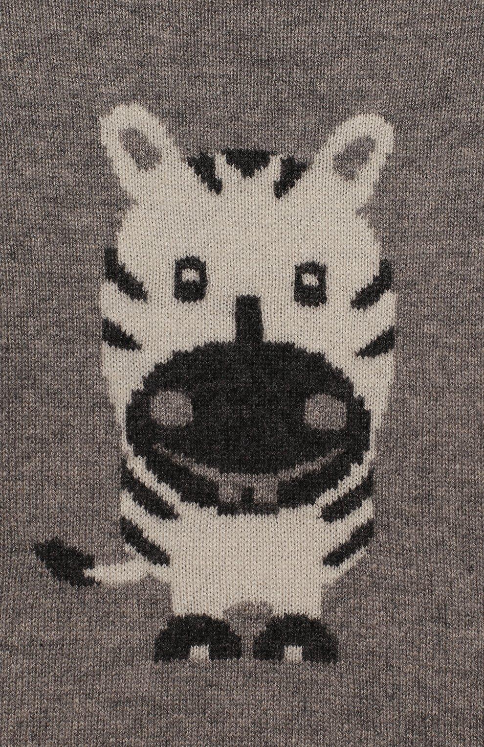Детский кашемировый пуловер OSCAR ET VALENTINE серого цвета, арт. PUL01ZEBRAS | Фото 3 (Материал внешний: Шерсть; Рукава: Длинные; Ростовка одежда: 12 мес | 80 см, 18 мес | 86 см, 2 года | 92 см)