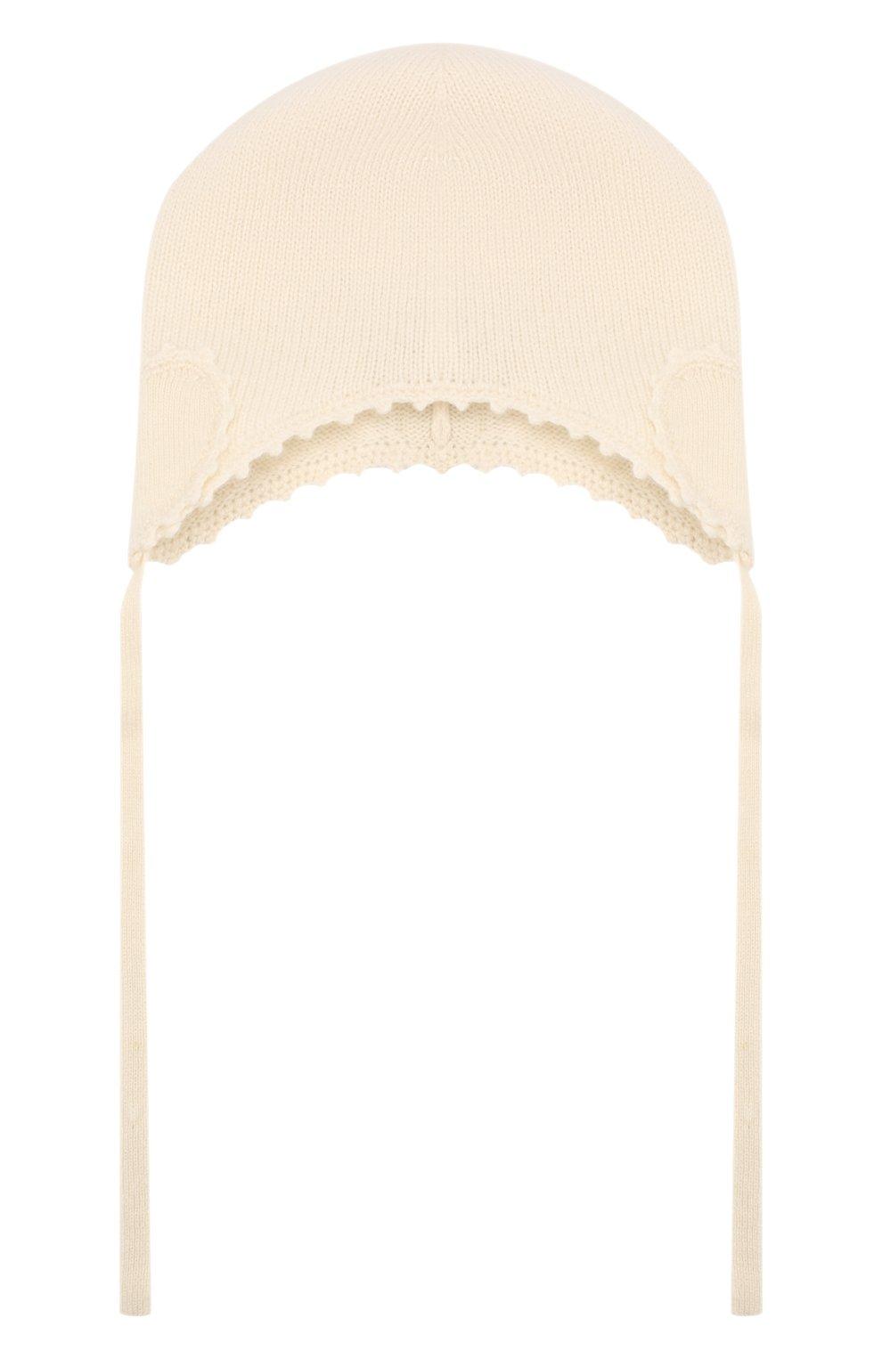 Детского кашемировая шапка OSCAR ET VALENTINE бежевого цвета, арт. BON04HEART | Фото 1 (Материал: Кашемир, Шерсть)