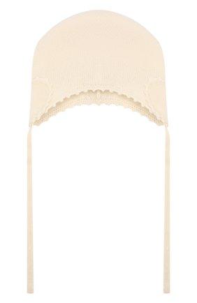 Детского кашемировая шапка OSCAR ET VALENTINE бежевого цвета, арт. BON04HEART | Фото 1