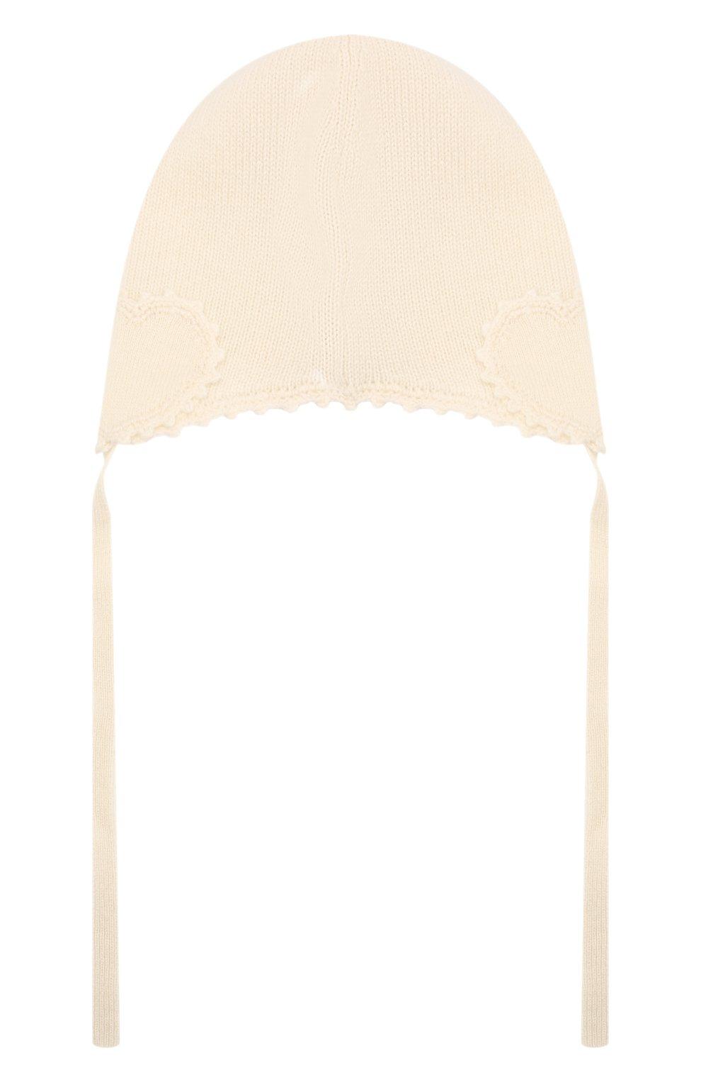 Детского кашемировая шапка OSCAR ET VALENTINE бежевого цвета, арт. BON04HEART | Фото 2 (Материал: Кашемир, Шерсть)