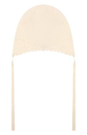 Детского кашемировая шапка OSCAR ET VALENTINE бежевого цвета, арт. BON04HEART | Фото 2