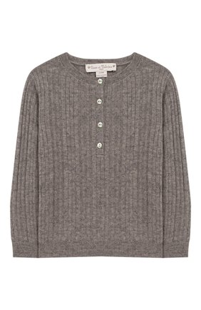 Детский кашемировый пуловер OSCAR ET VALENTINE серого цвета, арт. TUN10S | Фото 1