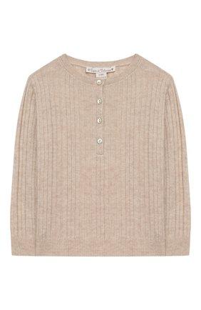 Детский кашемировый пуловер OSCAR ET VALENTINE бежевого цвета, арт. TUN10S | Фото 1