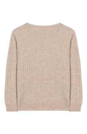 Детский кашемировый пуловер OSCAR ET VALENTINE бежевого цвета, арт. TUN10S | Фото 2