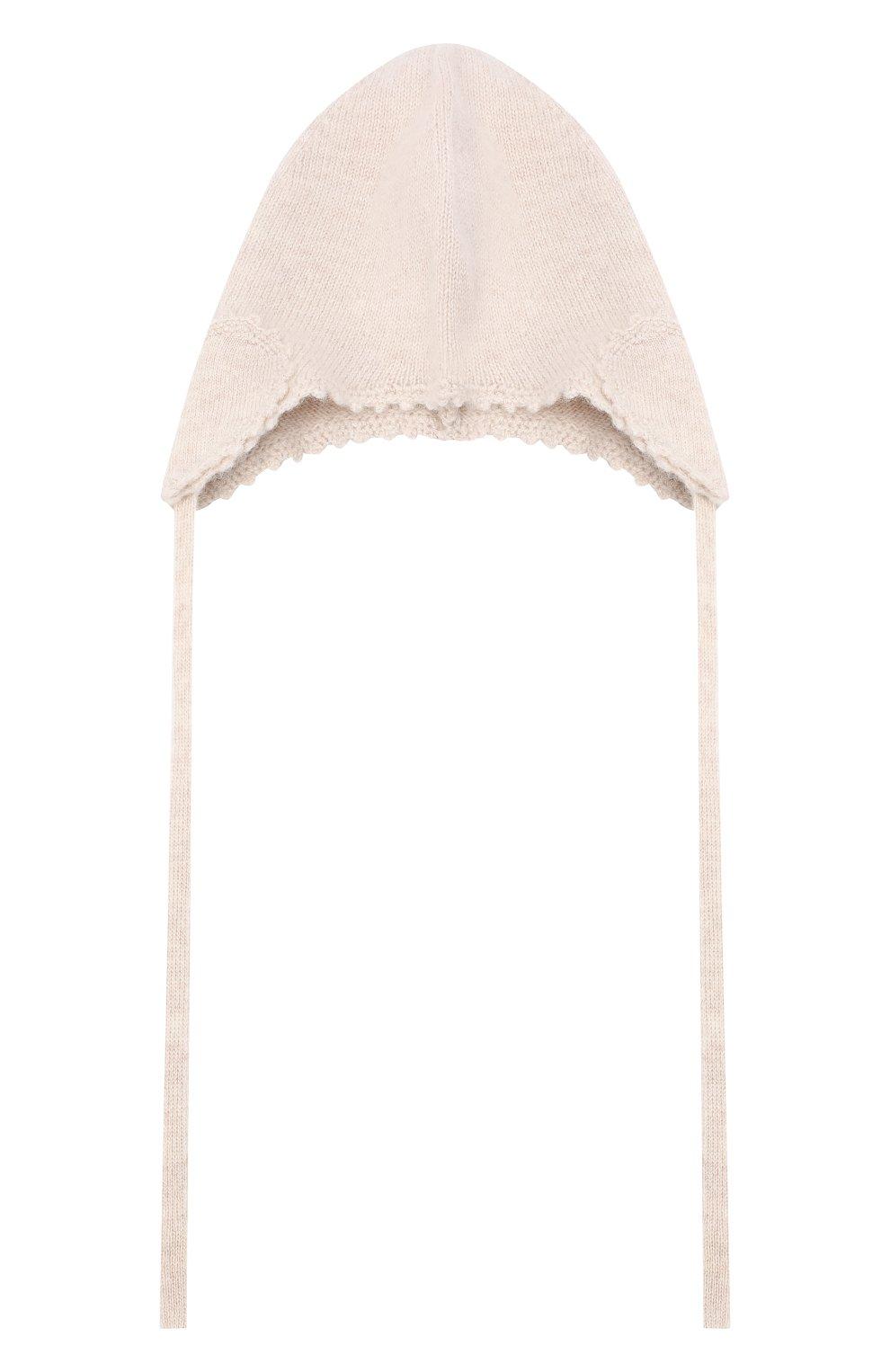 Детского кашемировая шапка OSCAR ET VALENTINE бежевого цвета, арт. BON04HEART   Фото 1