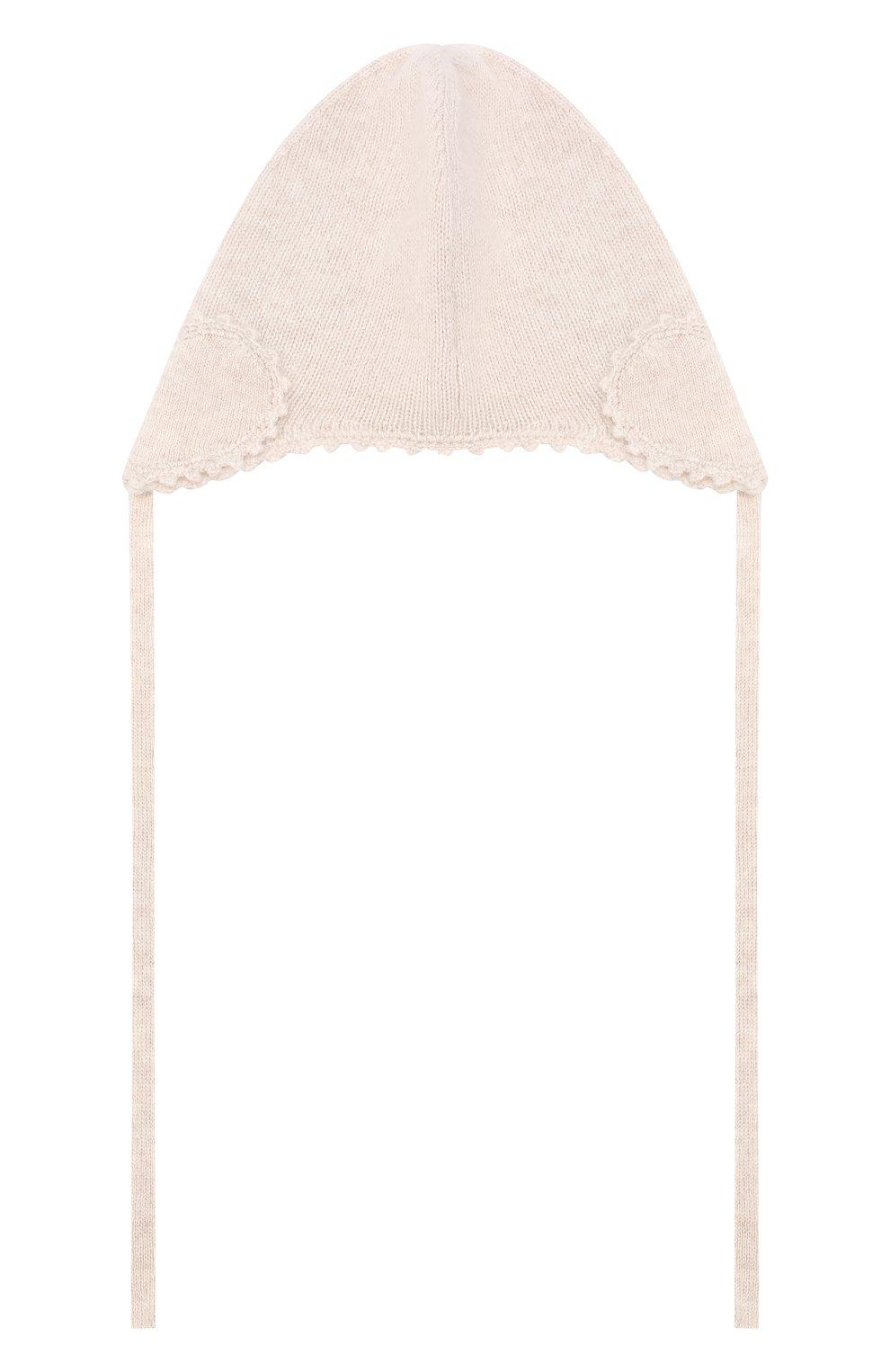 Детского кашемировая шапка OSCAR ET VALENTINE бежевого цвета, арт. BON04HEART   Фото 2