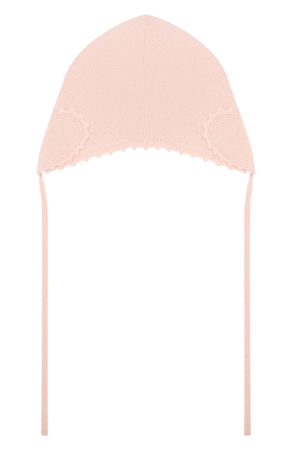 Детского кашемировая шапка OSCAR ET VALENTINE розового цвета, арт. BON04HEART   Фото 2 (Материал: Кашемир, Шерсть)