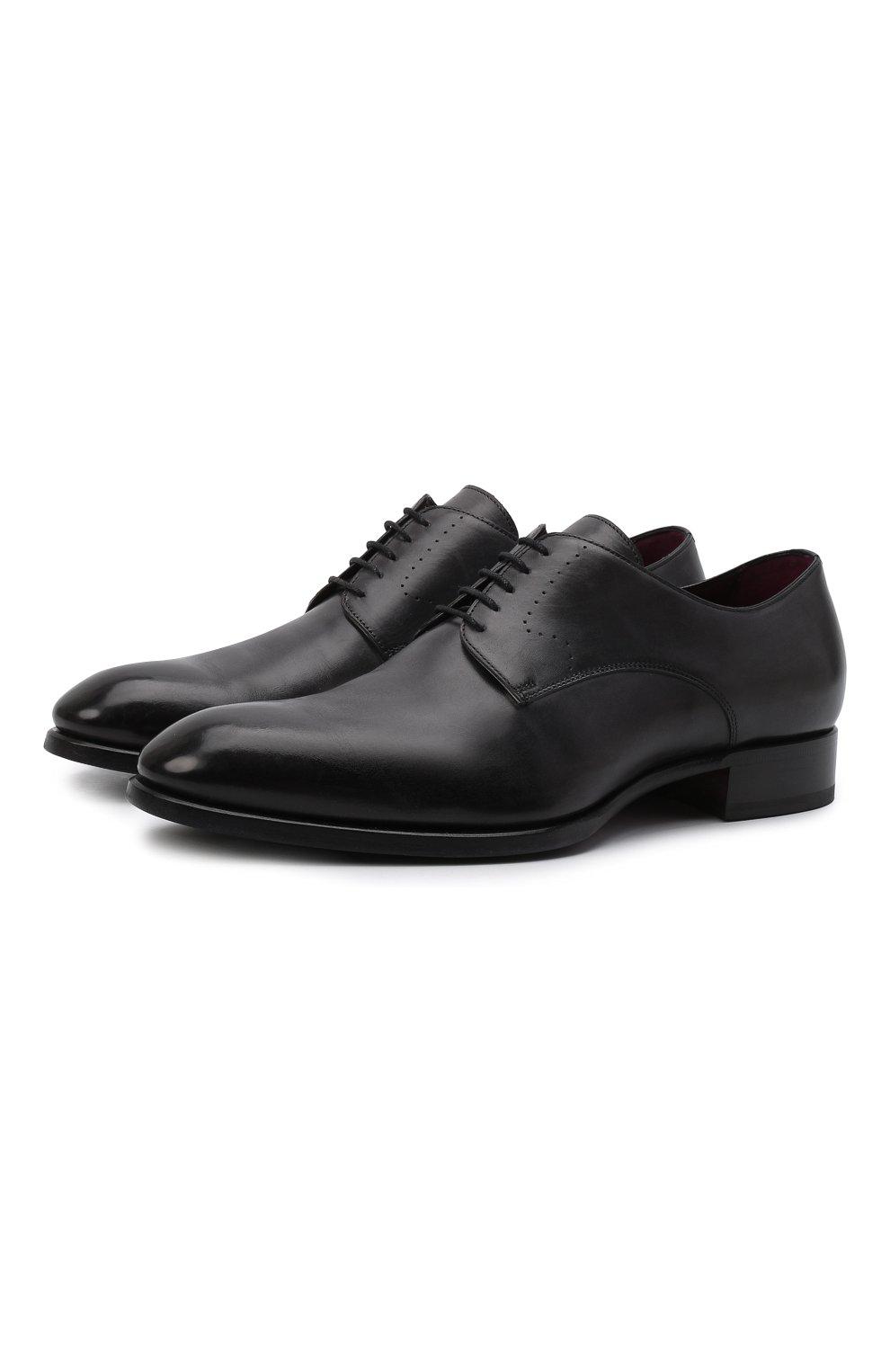 Мужские кожаные дерби BRIONI черного цвета, арт. QEEW0L/P6757   Фото 1