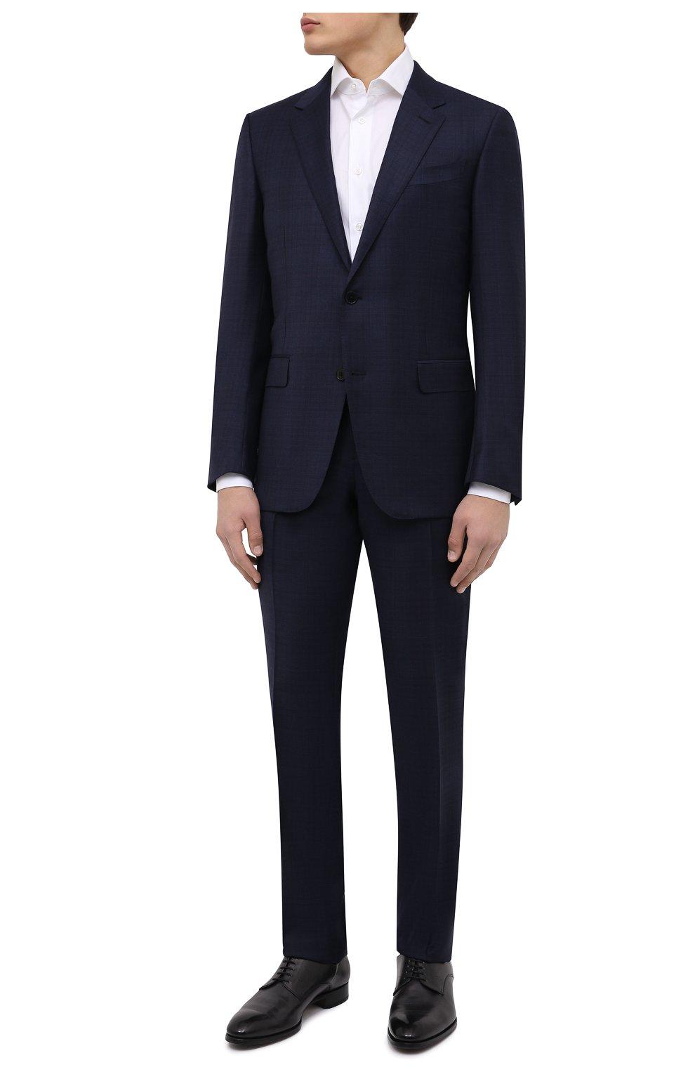 Мужские кожаные дерби BRIONI черного цвета, арт. QEEW0L/P6757   Фото 2