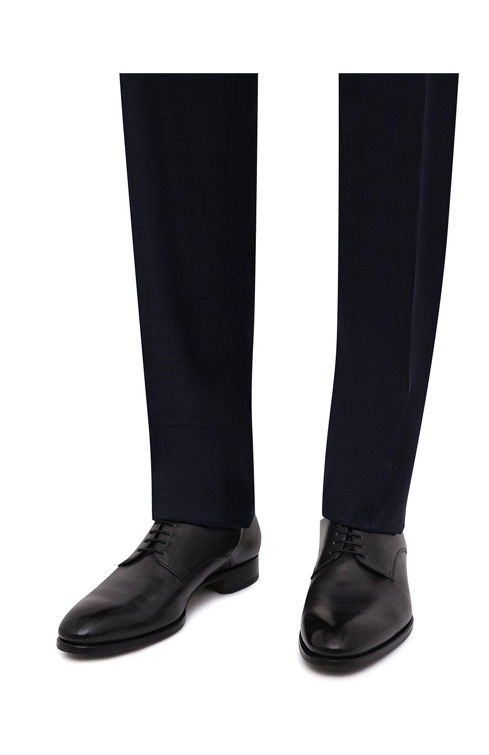 Мужские кожаные дерби BRIONI черного цвета, арт. QEEW0L/P6757   Фото 3
