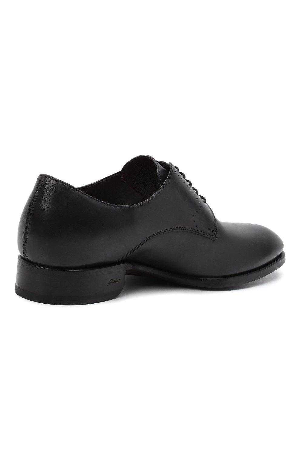 Мужские кожаные дерби BRIONI черного цвета, арт. QEEW0L/P6757   Фото 5