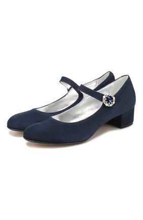 Детские кожаные туфли MISSOURI синего цвета, арт. 78031/35-41 | Фото 1
