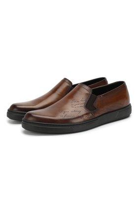 Мужские кожаные слипоны BERLUTI темно-коричневого цвета, арт. S4994-001 | Фото 1