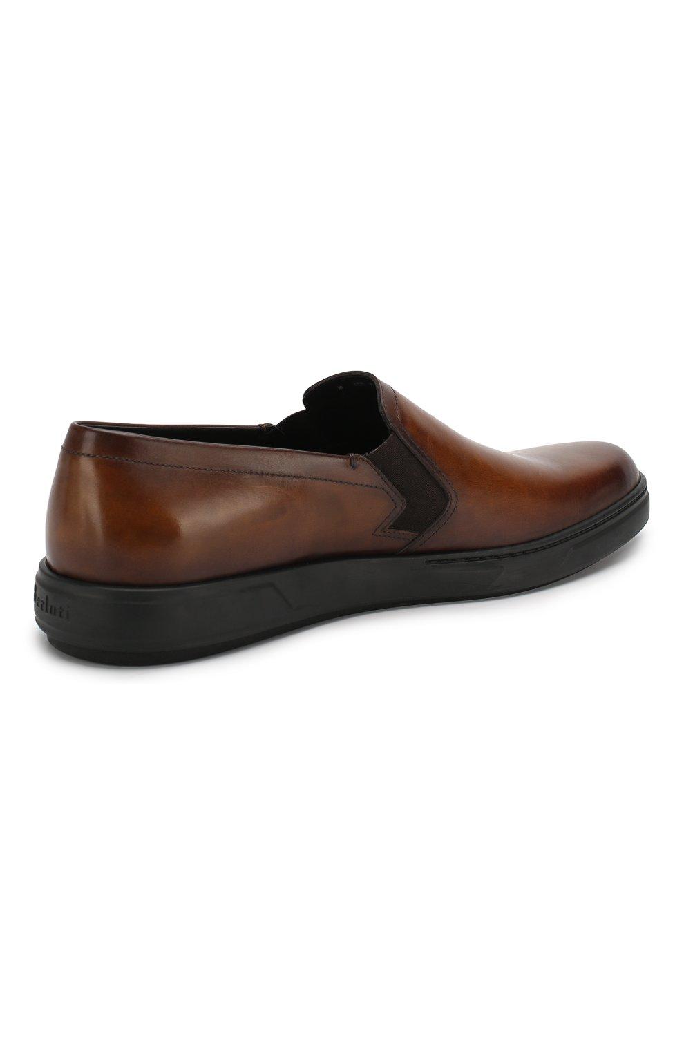 Мужские кожаные слипоны BERLUTI темно-коричневого цвета, арт. S4994-001 | Фото 4
