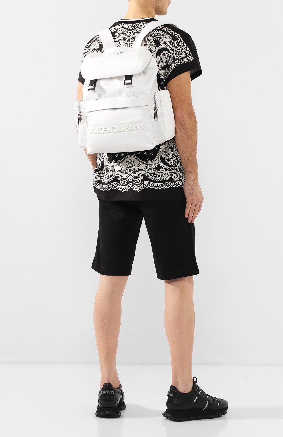 Мужской комбинированный рюкзак street DOLCE & GABBANA белого цвета, арт. BM1601/AZ675   Фото 2