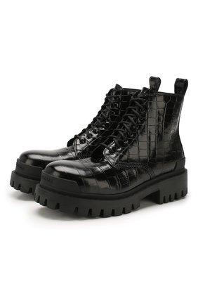 Мужские кожаные ботинки BALENCIAGA черного цвета, арт. 600911/WA9D0 | Фото 1