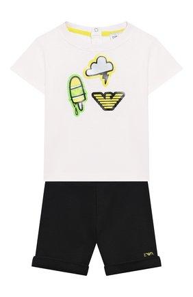Детский комплект из футболки и шорт EMPORIO ARMANI белого цвета, арт. 3HHV01/4J09Z | Фото 1