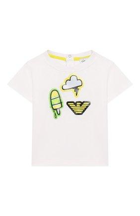Детский комплект из футболки и шорт EMPORIO ARMANI белого цвета, арт. 3HHV01/4J09Z | Фото 2