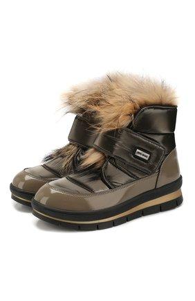 Женские текстильные ботинки JOG DOG бронзового цвета, арт. 14056R/DR_ZAFFIR0FLASH/NATURAL FUR/W | Фото 1