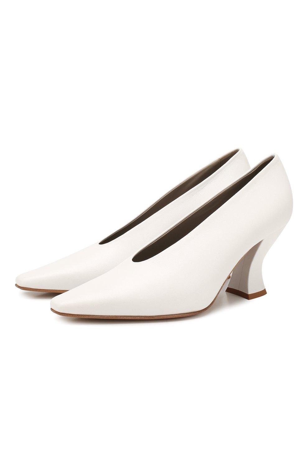 Женские кожаные туфли BOTTEGA VENETA белого цвета, арт. 608839/VBSD0   Фото 1