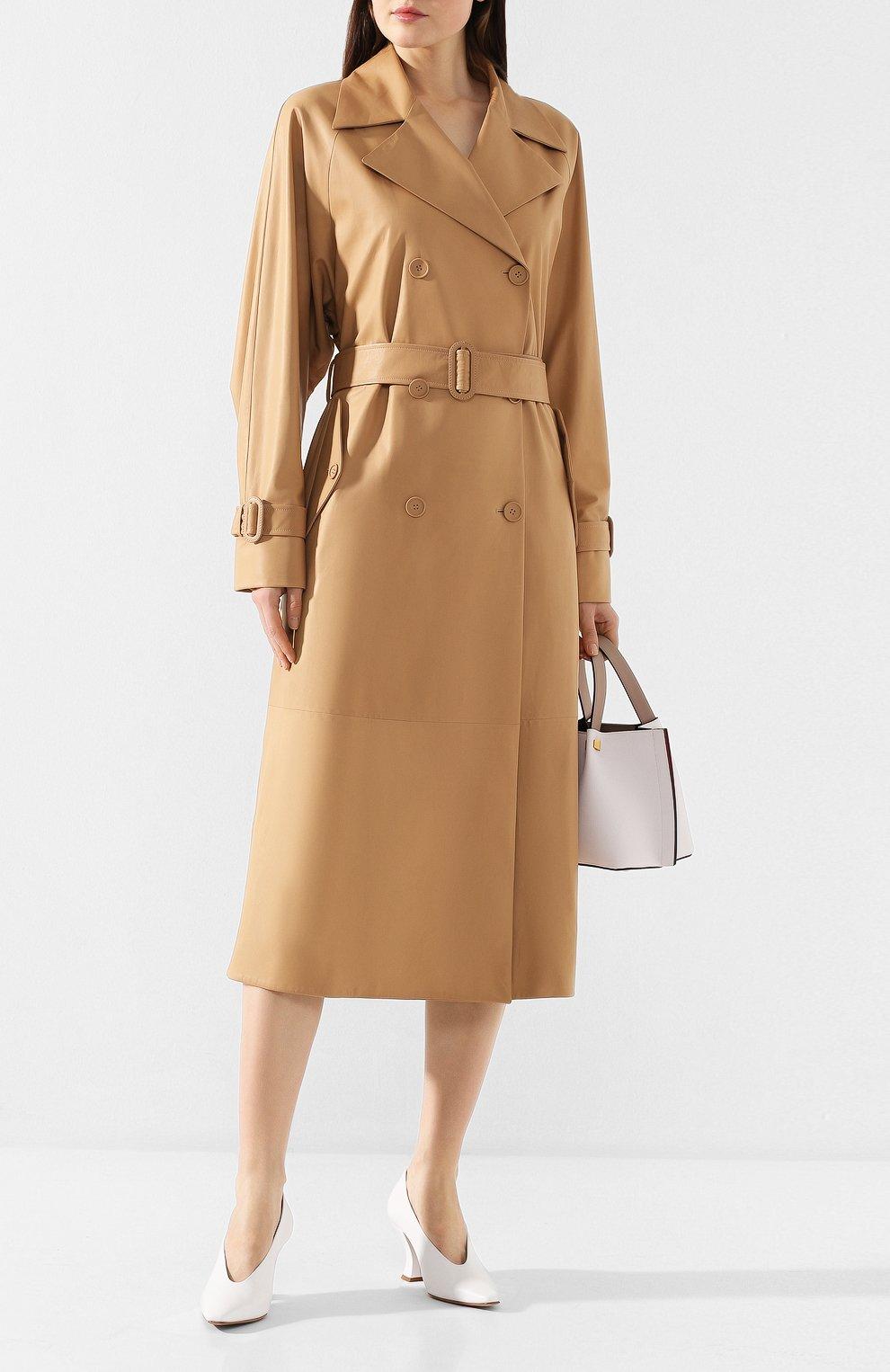 Женские кожаные туфли BOTTEGA VENETA белого цвета, арт. 608839/VBSD0   Фото 2