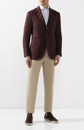 Мужские кожаные кеды TOM FORD бордового цвета, арт. J1045T-LCL020 | Фото 2