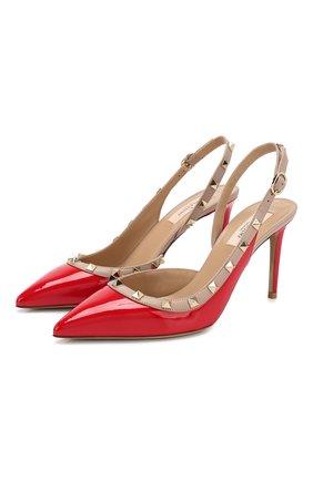 Женская кожаные туфли valentino garavani rockstud VALENTINO красного цвета, арт. TW2S0H04/VNW | Фото 1