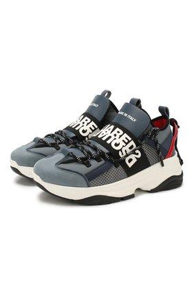 Мужские комбинированные кроссовки DSQUARED2 серого цвета, арт. SNM0048 16502621 | Фото 1