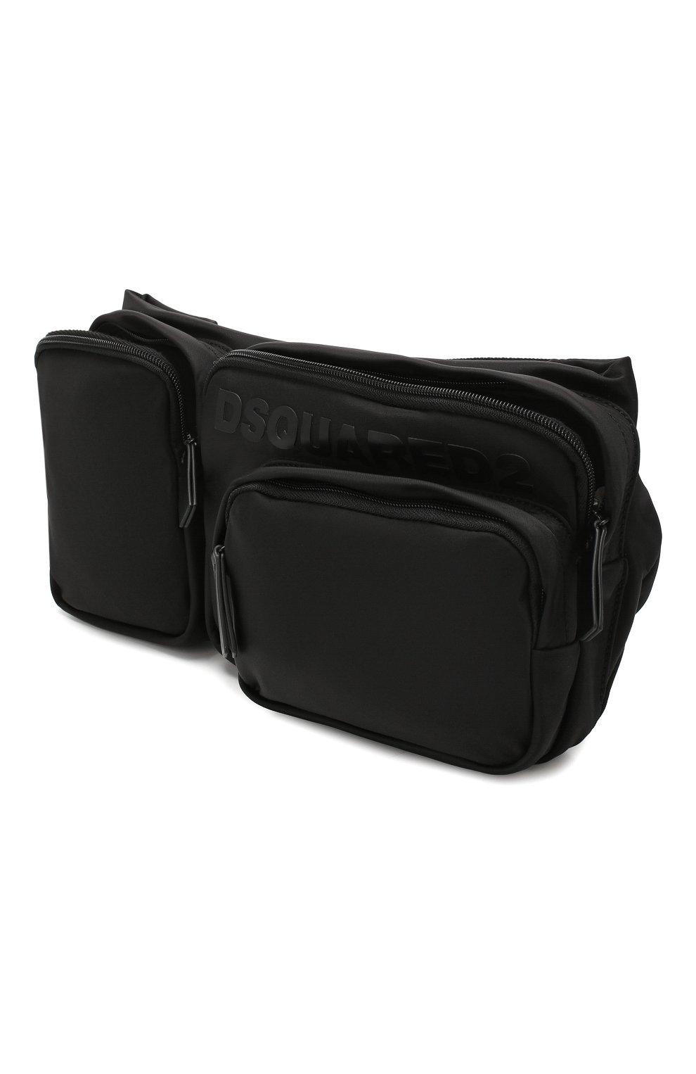 Мужская текстильная поясная сумка DSQUARED2 черного цвета, арт. BBM0020 11702174   Фото 4