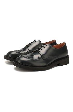 Мужской кожаные дерби BOTTEGA VENETA темно-серого цвета, арт. 608734/VBPB1 | Фото 1