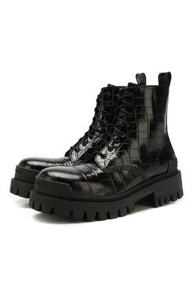 Женские кожаные ботинки strike BALENCIAGA черного цвета, арт. 600970/WA9D0 | Фото 1
