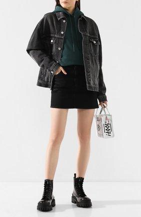 Женские кожаные ботинки strike BALENCIAGA черного цвета, арт. 600970/WA9D0 | Фото 2