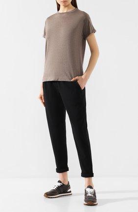 Женские комбинированные кроссовки BRUNELLO CUCINELLI темно-серого цвета, арт. MZSFG1811 | Фото 2
