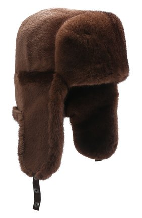 Мужская шапка-ушанка из меха норки KUSSENKOVV коричневого цвета, арт. 330510503158 | Фото 1