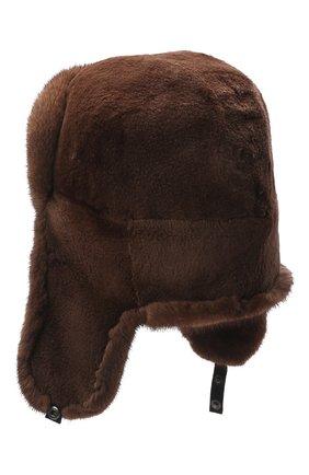 Мужская шапка-ушанка из меха норки KUSSENKOVV коричневого цвета, арт. 330510503158 | Фото 2