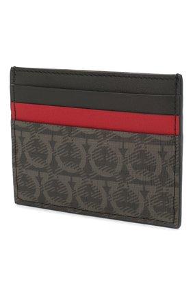 Мужской кожаный футляр для кредитных карт SALVATORE FERRAGAMO темно-серого цвета, арт. Z-0716540 | Фото 2