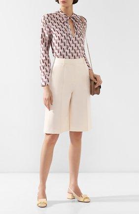 Женские шорты из смеси шерсти и шелка VALENTINO кремвого цвета, арт. TB3RD0551CF   Фото 2