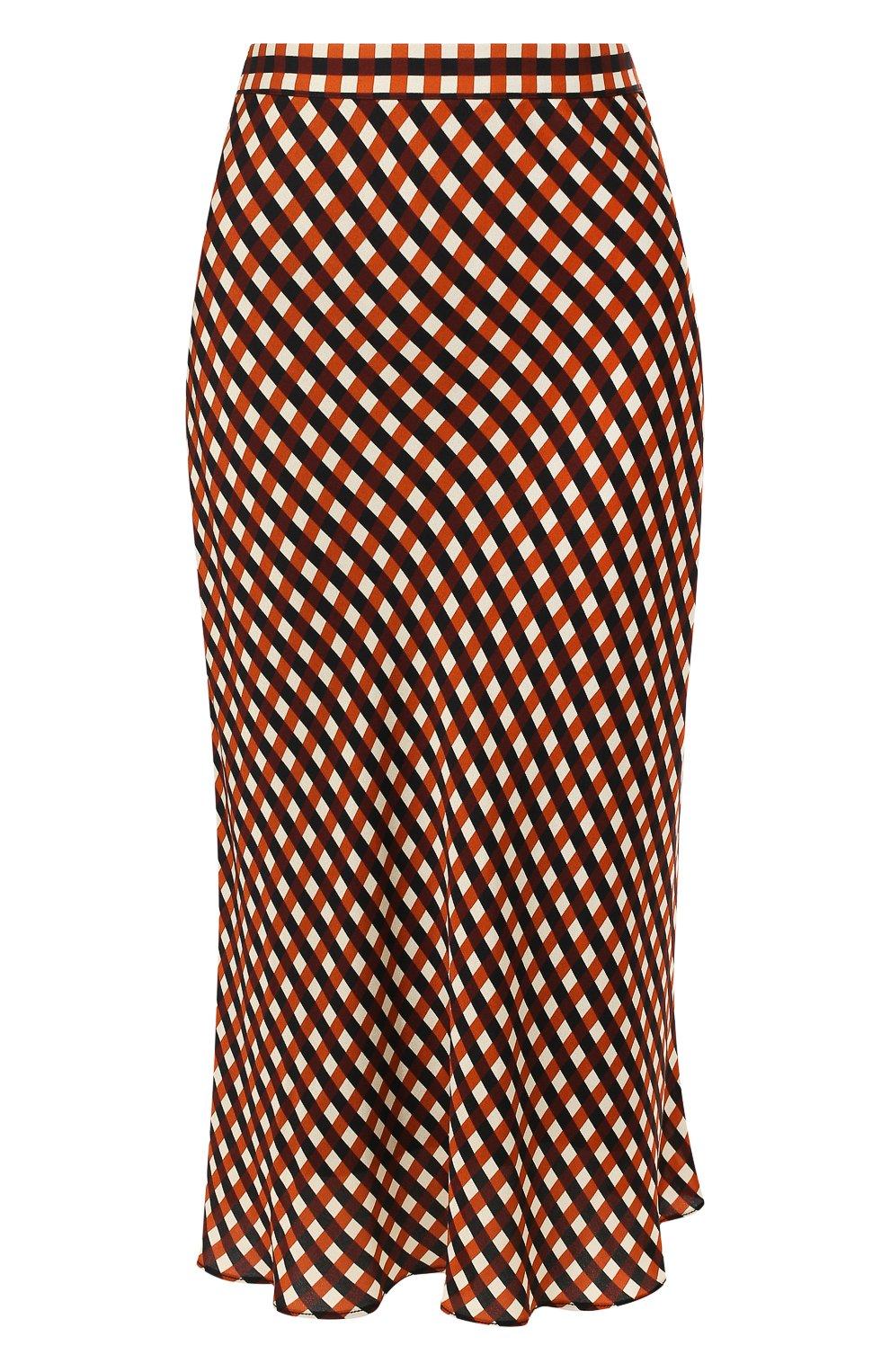 Женская юбка из вискозы PROENZA SCHOULER WHITE LABEL разноцветного цвета, арт. WL2015068-BY151 | Фото 1 (Длина Ж (юбки, платья, шорты): Миди; Материал подклада: Синтетический материал)